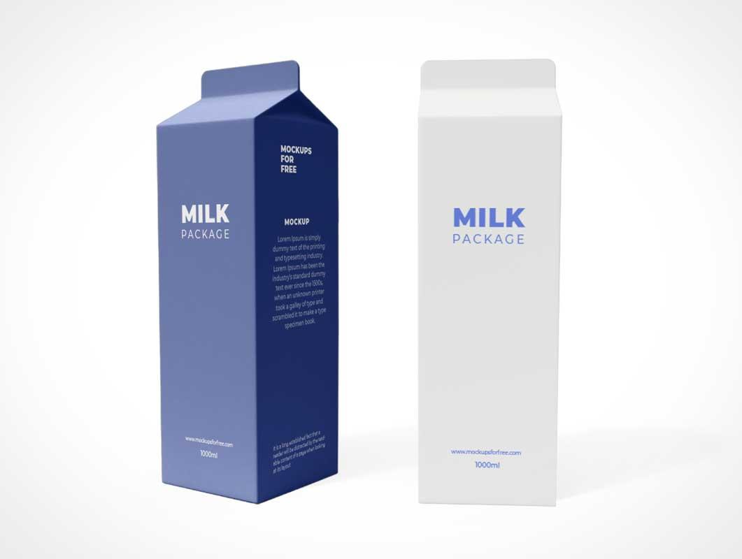 Tetra Pak Gabled Milk Carton PSD Mockup