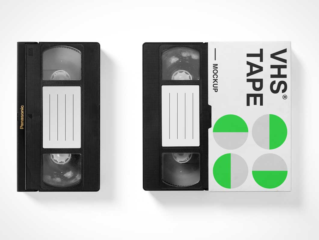VHS Movie Cassette & Case PSD Mockup