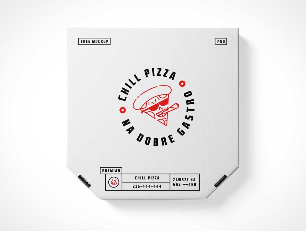 White-Label Cardboard Pizza Delivery Box PSD Mockup