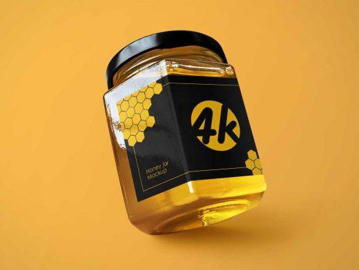Wide Mouth Square Glass Honey Jar & Twist Cap PSD Mockup