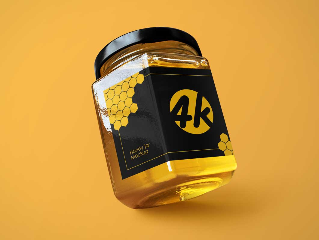 Wide Mouth Square Glass Honey Jar & Twist Cap PSD Mockup