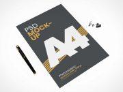 A4 Stationery Paper Letterhead & Stylus PSD Mockup