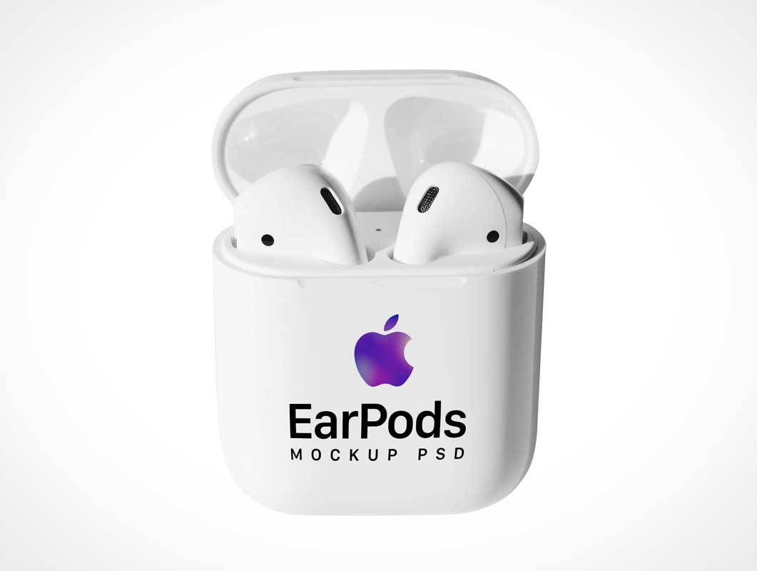 Apple Wireless EarPods & Case PSD Mockup