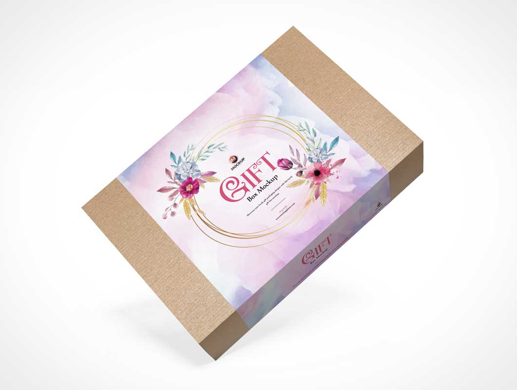 Closed Gift Box Packaging PSD Mockup