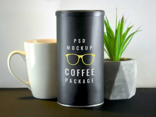 Coffee Bean Tube Packaging & Ceramic Mug PSD Mockup
