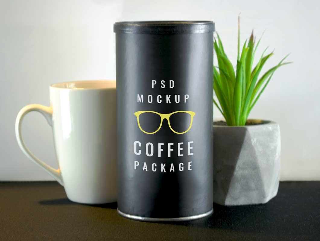 Coffee Bean Tube Packaging & Ceramic Mug PSD Mockup