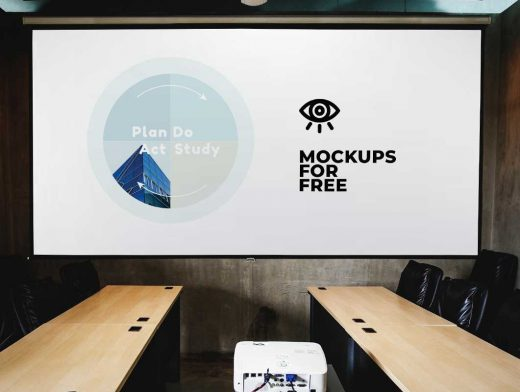 Conference Room Projector & Screen PSD Mockup