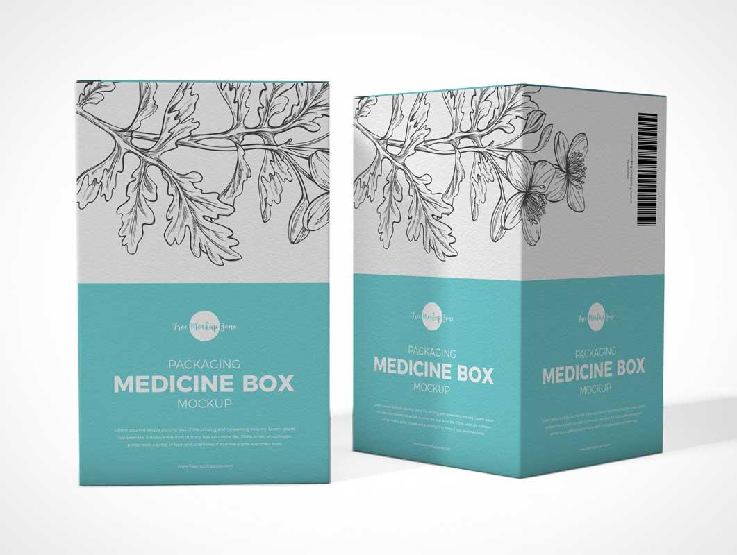 Cosmetic & Medicine Box Packaging PSD Mockup