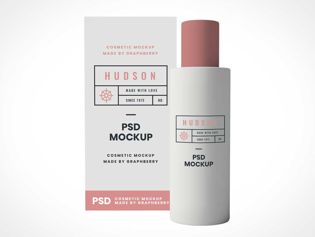 Cosmetics Shampoo Bottle & Box Packaging PSD Mockup