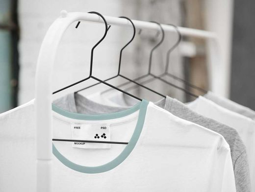 Cotton T-Shirts Hanging on Wire Hangers PSD Mockup