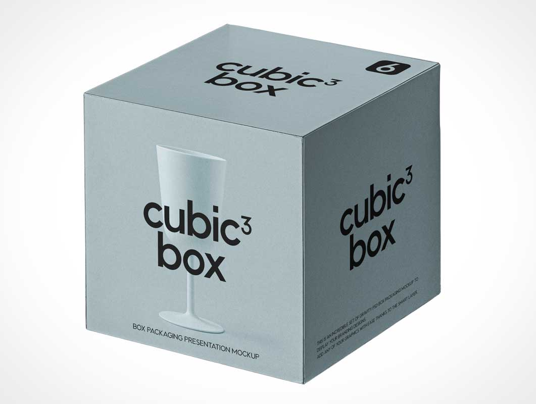 Cubic Gift Box Packaging PSD Mockup