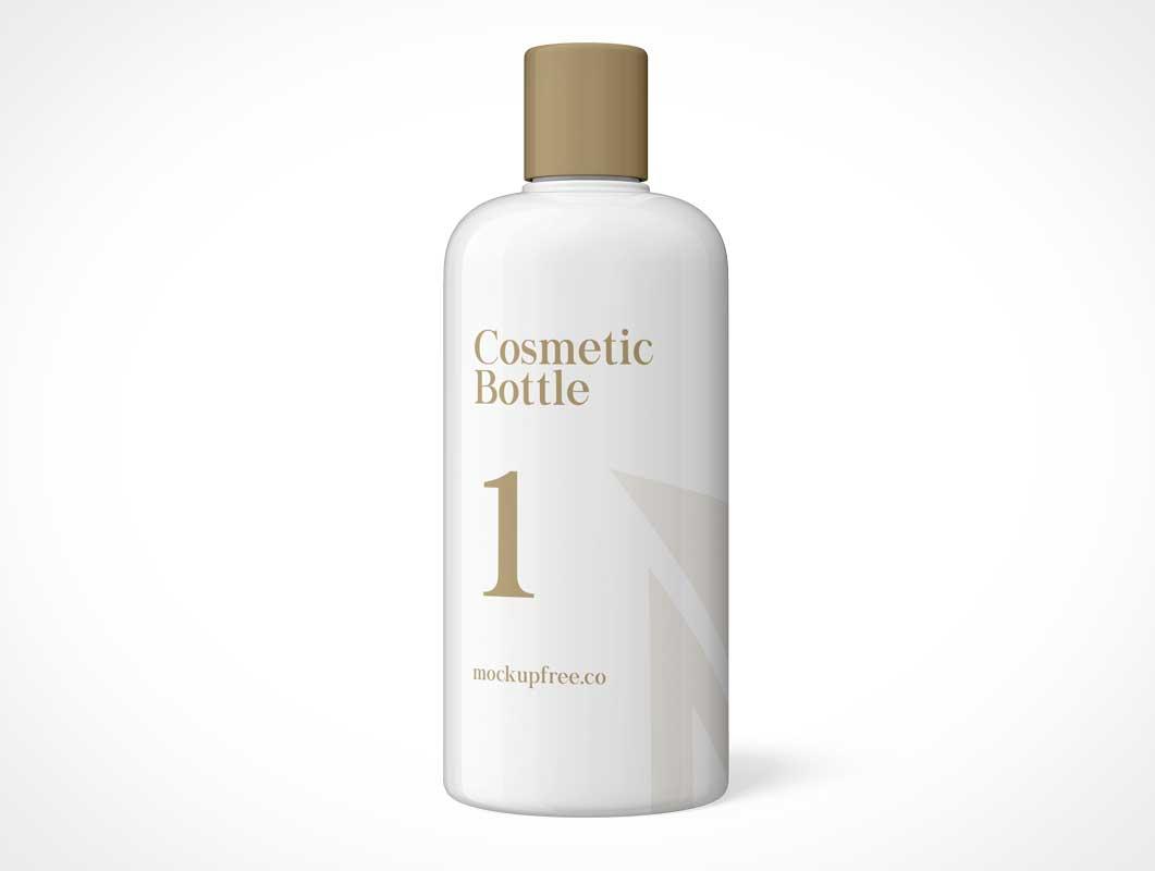 HDPE Plastic Cylindrical Cosmetics Shampoo Bottle PSD Mockup