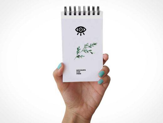 Handheld Ringed Notepad PSD Mockup