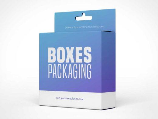 Hanging Display Carton Box Packaging PSD Mockup