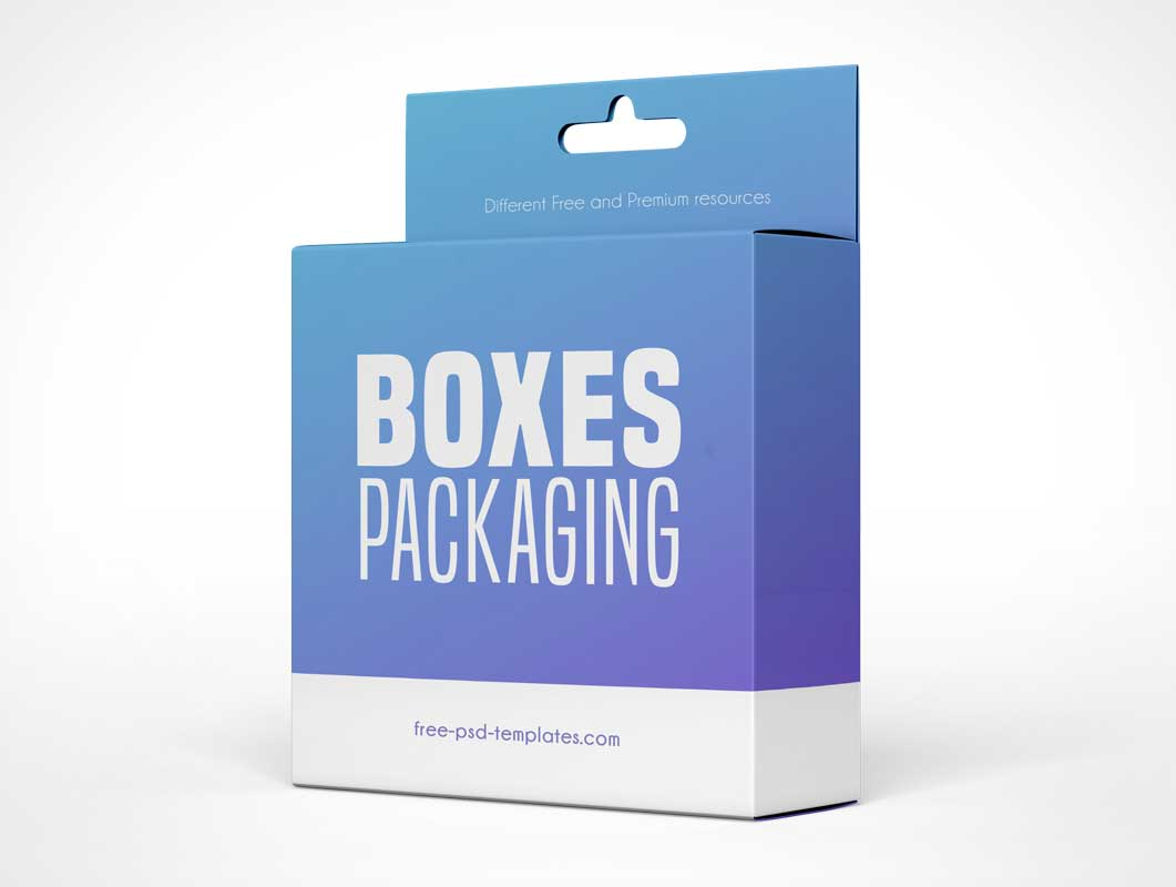 Hanging Display Carton Box Packaging PSD Mockup
