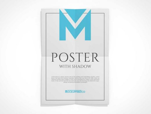 Hanging Unfolded Poster PSD Mockup