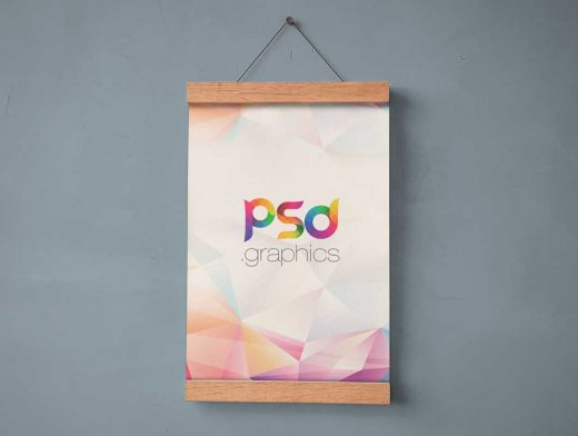 Hanging Wall Poster & Wooden Ends PSD Mockup