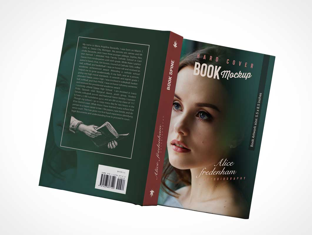 Paperback Novel Back Cover Face Down & Spine PSD Mockup