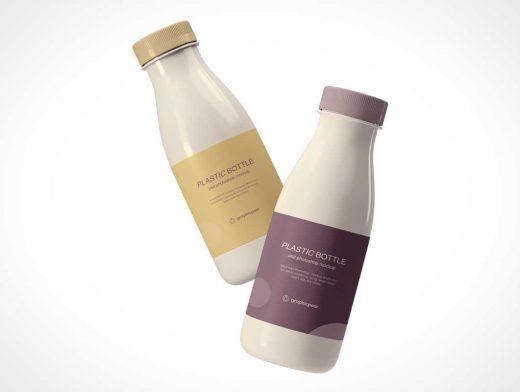 Plastic HDPE Yogurt Bottles PSD Mockup