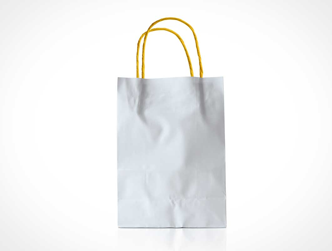 Recyclable Paper Shopping Bag & String Handles PSD Mockup