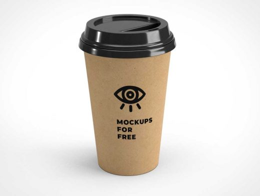 Recycled Paper Coffee Cup & Plastic Lid PSD Mockup