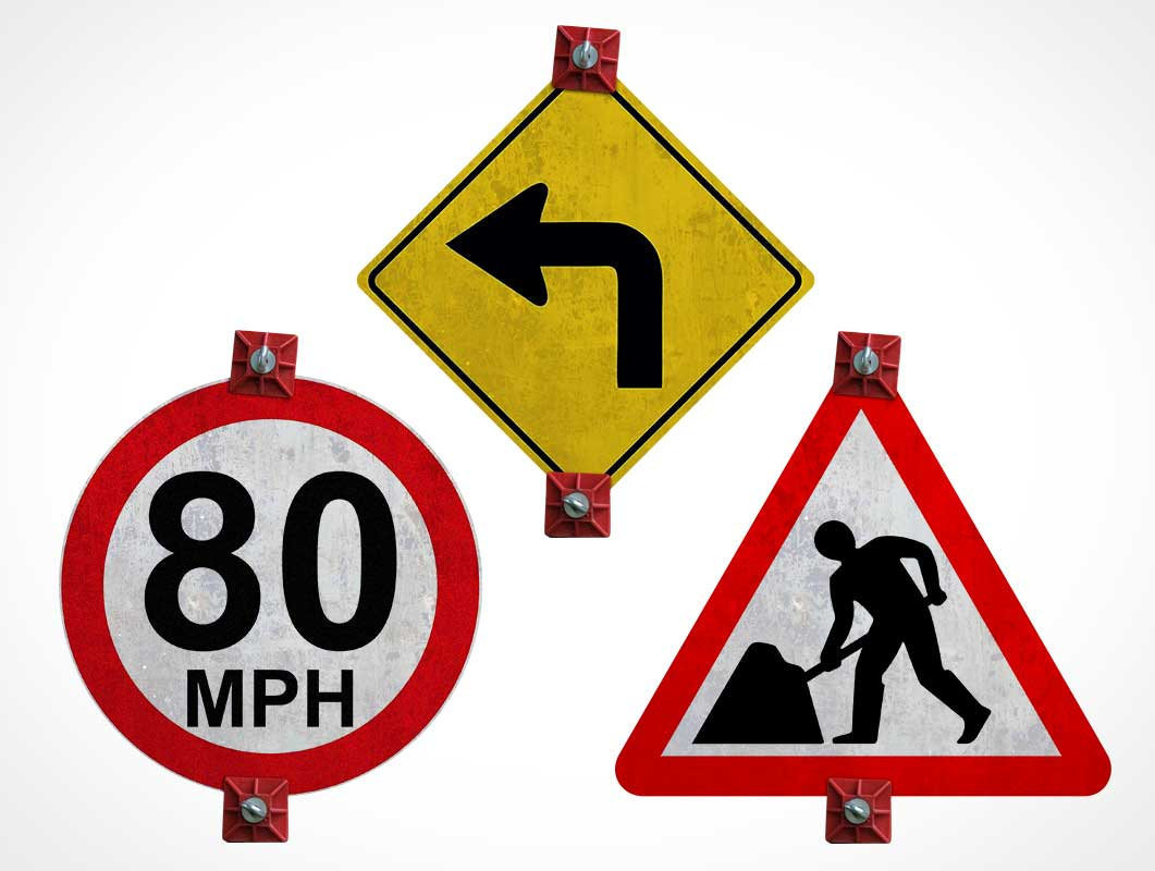Roadside Traffic Signs PSD Mockups
