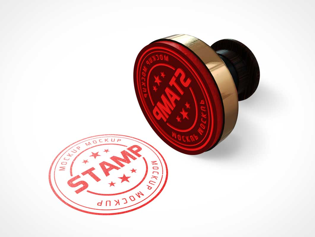 Round Rubber Stamp & Plastic Handle PSD Mockup