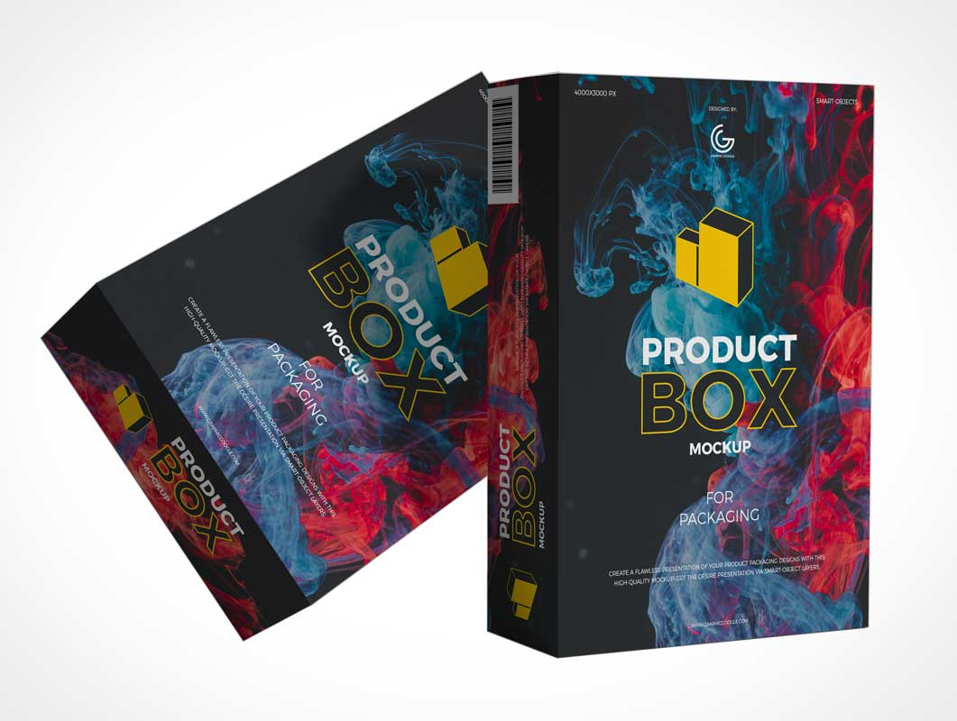 Software Product Box Packaging PSD Mockup