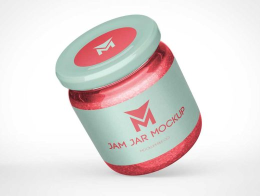 Wide Mouth Glass Jam Jars PSD Mockup