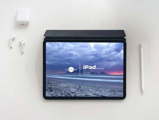 iPad Pro, Stylus & Headphone Ear Buds PSD Mockup