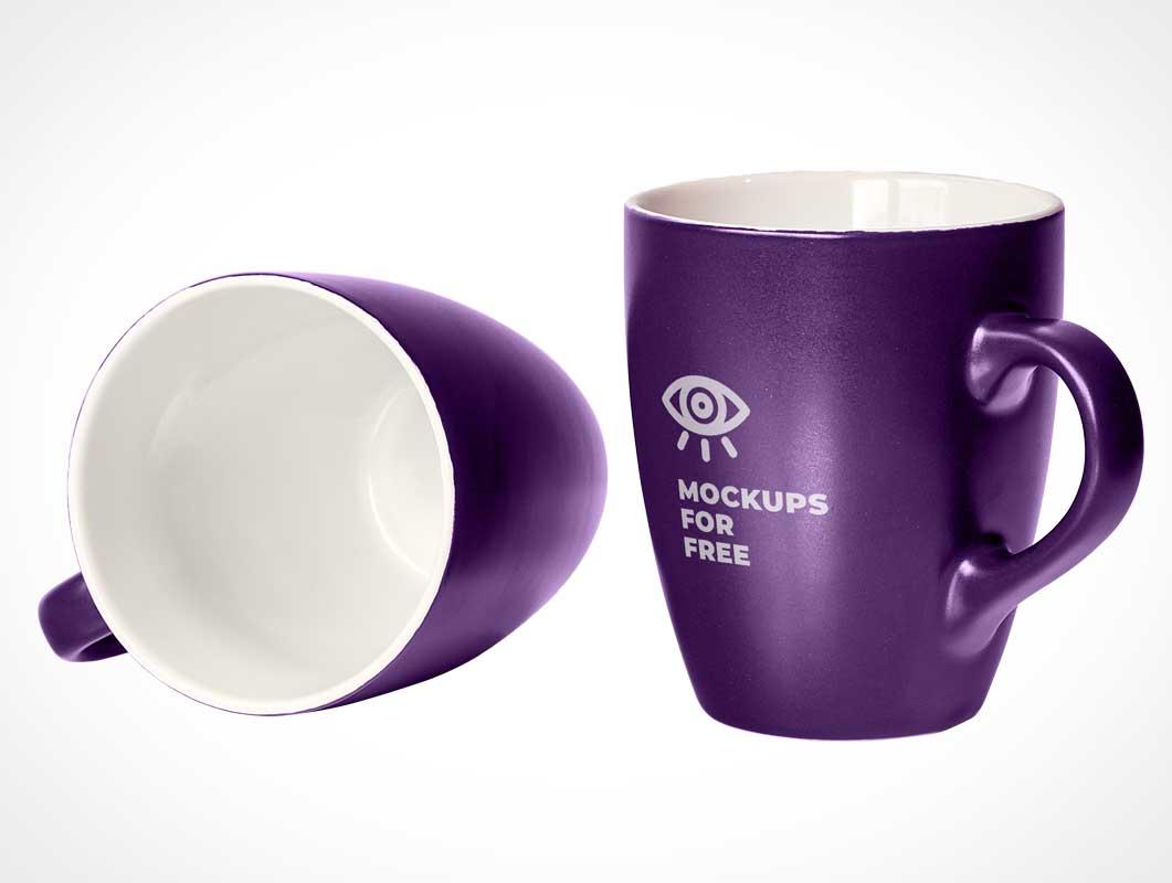 2 Glazed Ceramic Marrow Mugs PSD Mockup