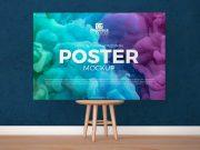 Borderless Landscape Art Poster PSD Mockups