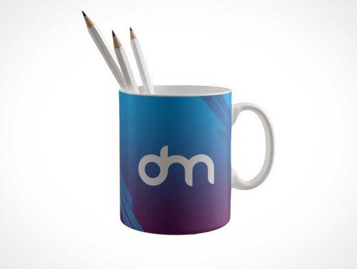 Ceramic Mug Holding Pencils PSD Mockup