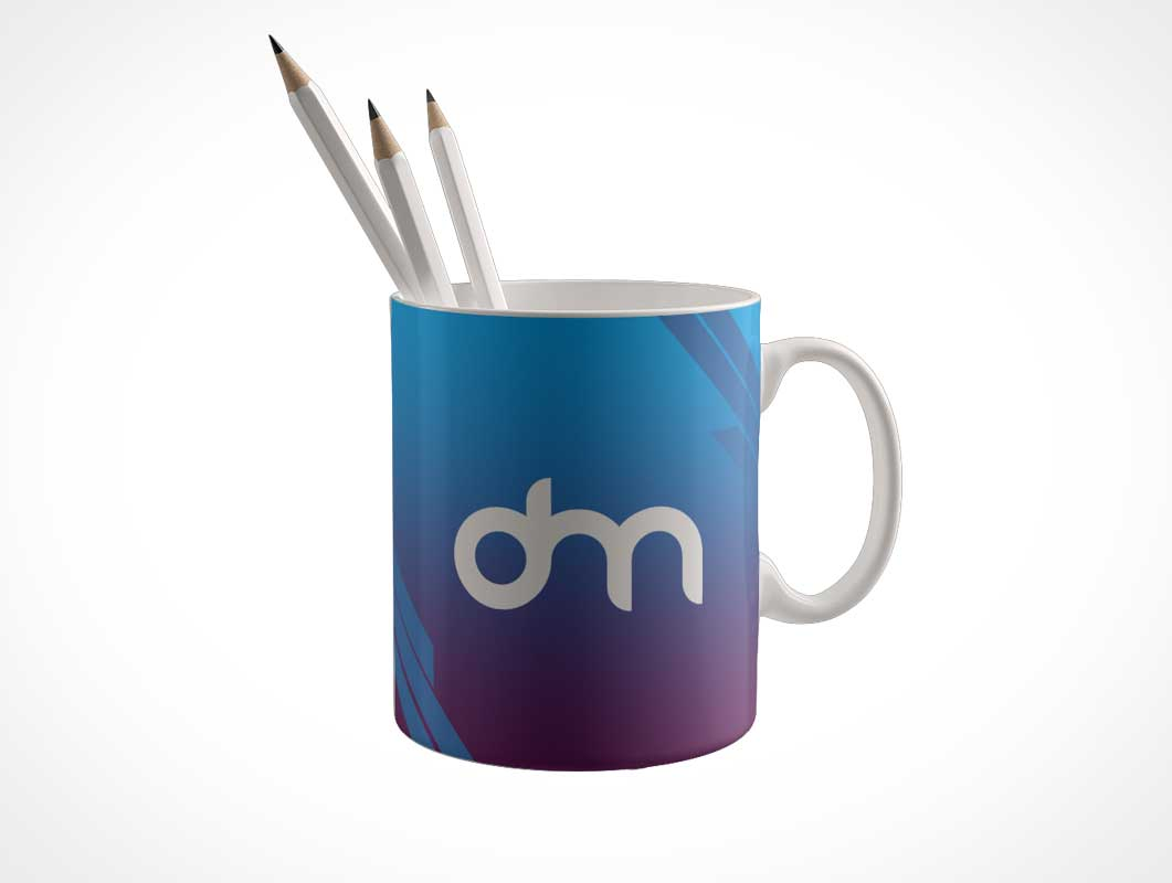 Ceramic Mug Holding Pencils PSD Mockup