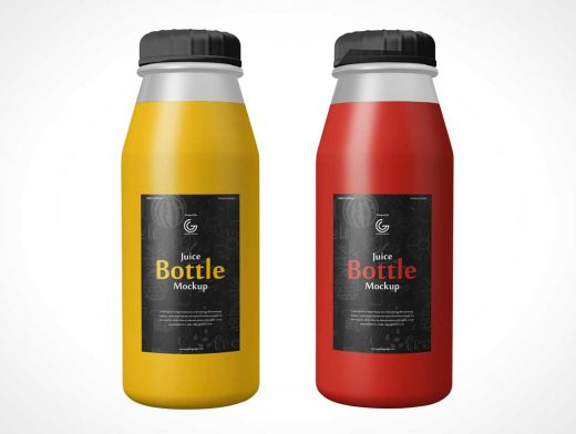 Juice Drink Bottles & Twist Caps PSD Mockup