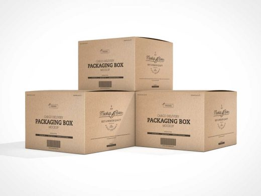 Recycled Cardboard Moving Boxes PSD Mockups