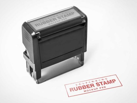 Self Inking Rubber Stamp PSD Mockup