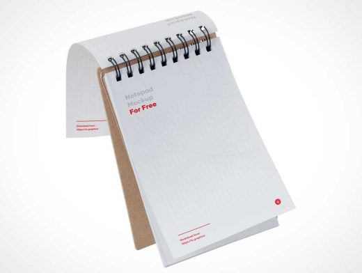 Spiral Bound Notepad & Perforated Lined Paper PSD Mockup