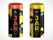 Tin Cylinder Food Storage PSD Mockup