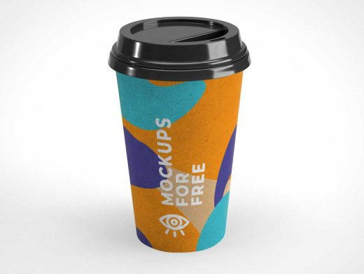 16oz Recycled Paper Coffee Cup & Plastic Lid PSD Mockup
