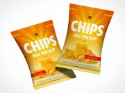 2 Floating Sealed Chip Bags PSD Mockup