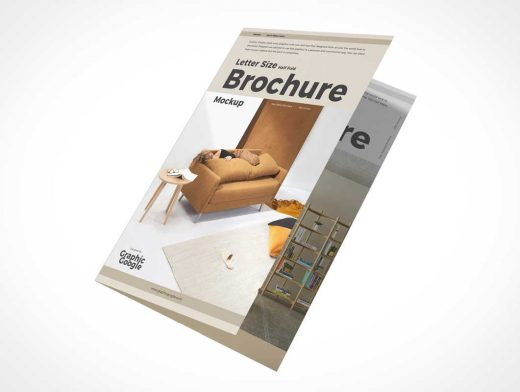 2 Panel Folded Brochure Cover PSD Mockup