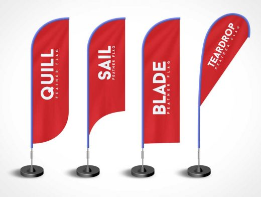 4 Branded Event Rollup Feather Flag Types PSD Mockup