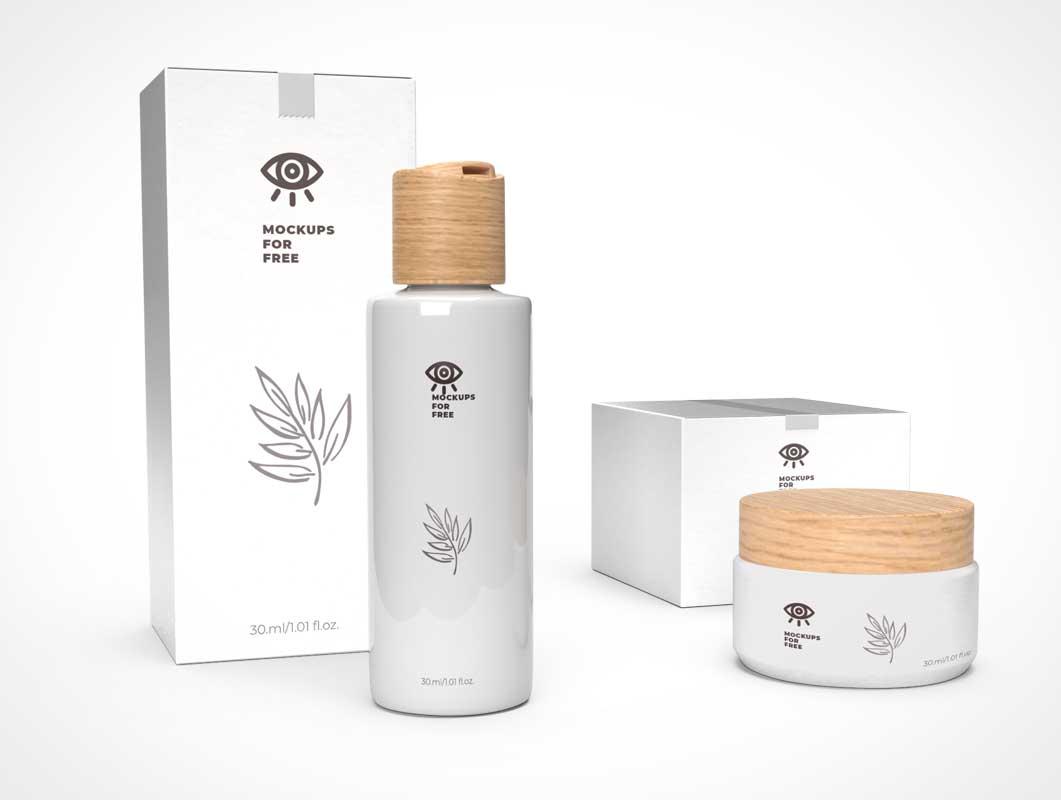Cosmetic Cream Jar, Lotion Bottle & Box Packaging PSD Mockup