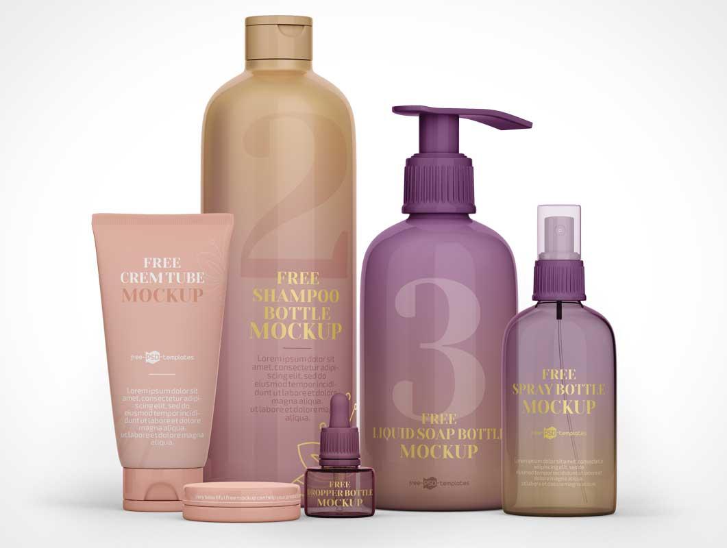 Cosmetics Shampoo, Pump Lotion & Spray Bottle PSD Mockup