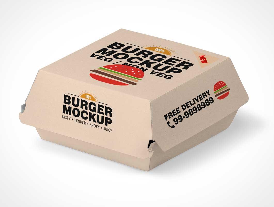 Fast Food Hamburger Take Out Packaging Psd Mockup Psd Mockups