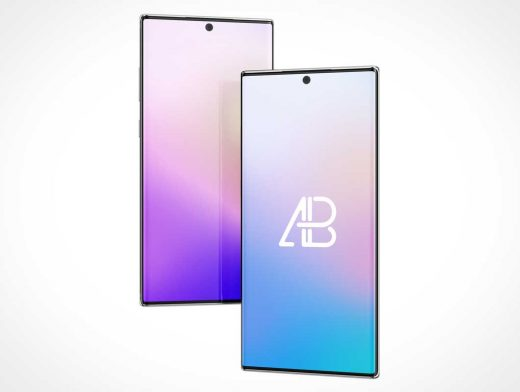 Galaxy Note 10 Pro Smartphone Displays PSD Mockup
