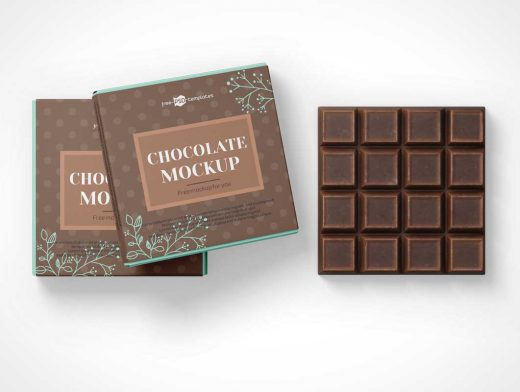 Square Chocolate Bar Snack & Box Packaging PSD Mockup
