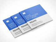 Stacked Square Brochure Booklets PSD Mockup