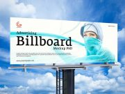 Steel Pipe Outdoor Media Billboard Ad PSD Mockup